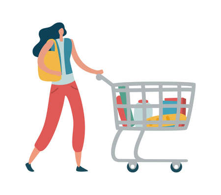 Woman shopper with shopping cart. Modern female character with trolley full of products and holding package in her hand in supermarket or mall, flat vector isolated cartoon illustration