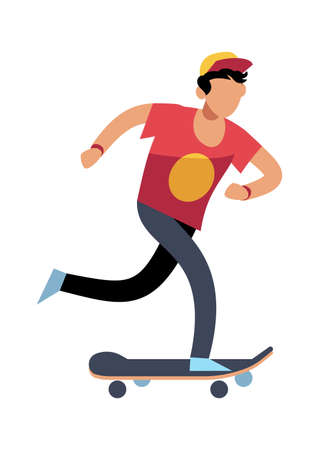 Young man on skateboard. Simple young character skater guy skating on board. Outdoor activities in park, extreme sport, healthy leisure lifestyle. Flat vector cartoon isolated illustration Ilustracja