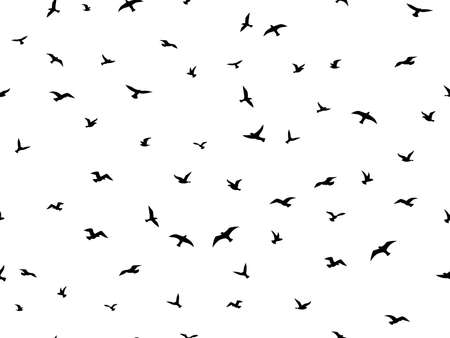Flying bird seamless pattern. Flock flying birds silhouettes, graphic simple seagull shapes decorative element. Creative design textile, wrapping paper, wallpaper vector texture on white background