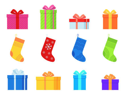 Gifts and christmas socks. Various traditional colorful stockings and gift boxes, new year presents winter decor holiday symbols decorative stylish wrap flat vector set