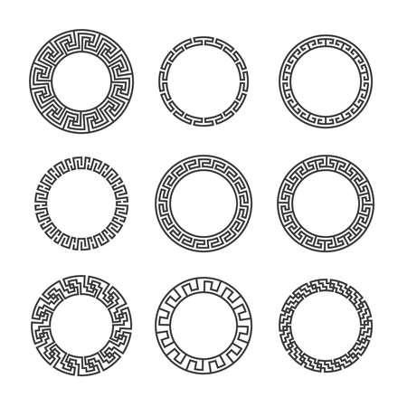Greek round frames. Ancient circular mediterranean black frame borders with hellenic pattern. Geometric ornamental mandala tattoo design vector set  イラスト・ベクター素材