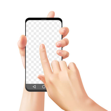Hands holding smartphone. Woman uses mobile phone for online communication chatting with app, realistic hand touch cellphone screen device vector mockup on transparent background