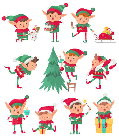 Christmas elf. Santa Claus cute fantasy helpers, adorable elves with holiday gifts and decorations, happy dwarf with xmas eve and snowman cartoon vector isolated characters collection