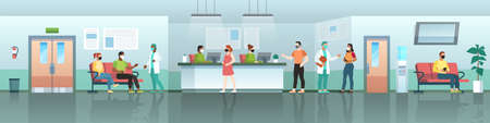 Hospital waiting room. Medical center reception with patients, doctors and nurses in masks. Coronavirus treatment, covid-19 clinic interior panorama, aid reception vector flat horizontal concept  イラスト・ベクター素材