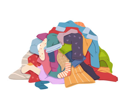 Dirty clothes pile. Messy laundry heap with stains, different soiled smelly apparel, soiled fabric old shorts, t-shirts and socks on floor. Laundry vector isolated colorful concept