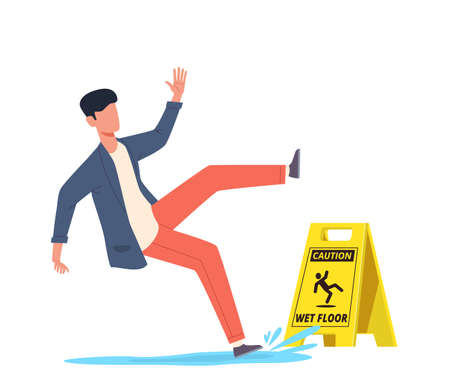 Wet floor. Falling man slips in water, slipping and downfall, injured unbalanced character, personal injury, dangerous dropping, caution danger yellow sign cartoon vector concept