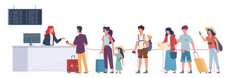 Tourists in queue. Air flight check, passengers registration in airport terminal, waiting plane departure travellers with luggage modern flat cartoon vector concept