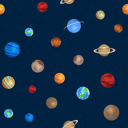Solar system seamless pattern. Different colorful planets on space background, sun system astronomy objects, galaxies, stars collection. Creative design textile, wrapping, wallpaper vector texture