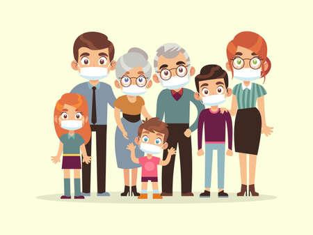 Family quarantined. Parents, grandparents and kids in medical masks standing protection against virus, stop spread of viruses flu and coronavirus, beware epidemic cartoon flat vector illustration