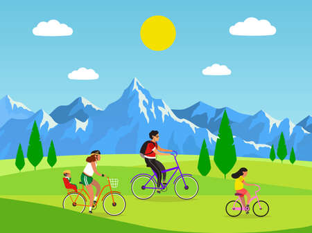Family cycling. Active mom dad and kids riding bikes in mountains, outdoor activities and sport or walking in park, healthy lifestyle and fitness concept. Flat vector cartoon isolated illustration
