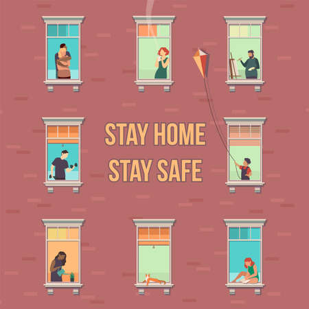 Stay home concept. House facade with windows, people look out of apartment, characters doing hobbies in flats during quarantine, prevention covid-19 pandemic cartoon flat vector illustration with text