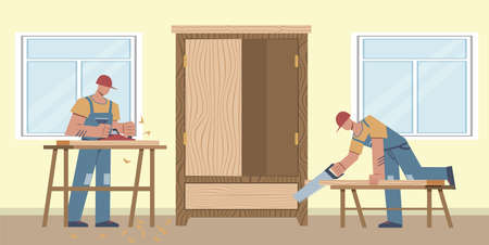 Work carpenter. Two workers sawing boards, making wooden cabinet, home renovation and carpentry, work at house repairing, repairman flat vector cartoon male characters
