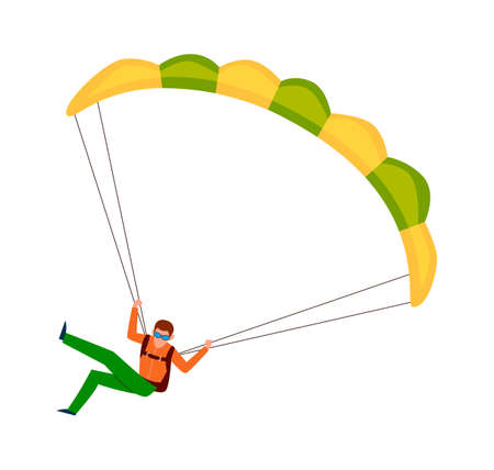 Man jump with parachute. Active lifestyle hobby, extreme professional parachuting sport, speed falling in sky male cartoon colorful character isolated on white background