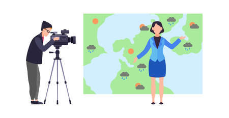 Weather forecast. Woman meteorologist reporter standing on background of map with microphone and male operator with camera in studio, meteorology concept cartoon flat vector isolated illustration