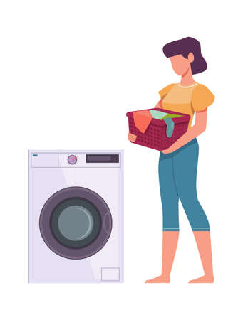 Woman washes clothes. Female character loading dresses in washing machine, wife standing and holding basket with dirty dresses, housework vector flat cartoon isolated concept