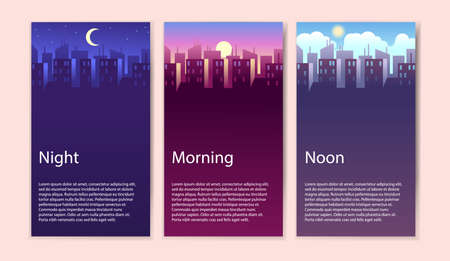 Different times of day. Concept banner set morning, noon and night cityscape, buildings and skyscrapers at various time, modern urban landscape, vector cartoon illustrations in flat style 일러스트