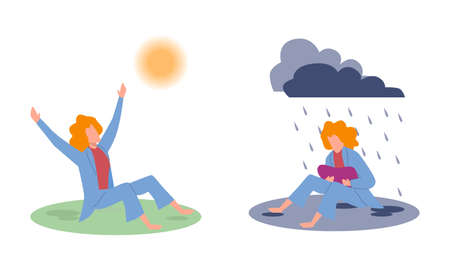 Joy and sadness. Sad woman under raining clouds and happy woman under sun, negative and positive emotions before and after psychotherapy, good or bad feeling, cartoon flat vector isolated illustration 일러스트