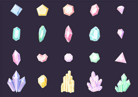 Set of colored crystals. Colorful jewelry gems, precious luxury stones, shiny crystal stalagmites and stalactites. Quartz, sapphire and amethyst gemstone vector isolated set