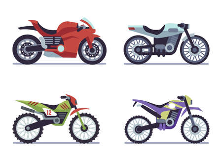 Set of sports motorcycles. Racing motorcycle, collectible vehicles for road racing, speed race modern vehicle travel and sport flat isolated vector motor transport collection