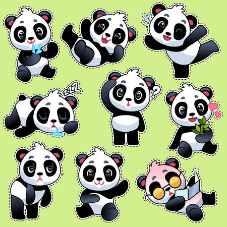 Set of stickers with cute pandas. Cute asian adorable bears in different poses and emotions, eating bamboo stem and laughing, playing and sleeping, flat cartoon vector character kids collection