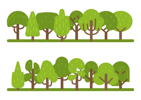 Set of trees. Collection of various green park and forest, tree collection in modern flat style for design of architectural compositions, organic eco symbol, cartoon vector isolated illustration