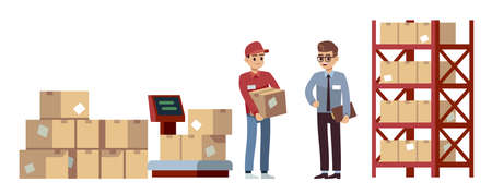 Warehouse elements. Operations, acceptance and goods moving, beige cardboard closed box stuck on wooden pallets, men on cargo storage, industry shipment flat vector cartoon set Ilustração