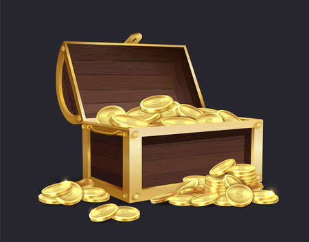 Chest of gold coin. Large closed and open vintage wooden trunk full of golden coins, medieval mystery pirate treasures illustration for game cartoon vector isolated set 일러스트