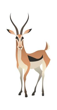 Jungle wild antelope. Gazelle savannah brown animal, wildlife trendy exotic childish print, african fauna mammal. Vector flat cartoon single isolated illustration Illustration