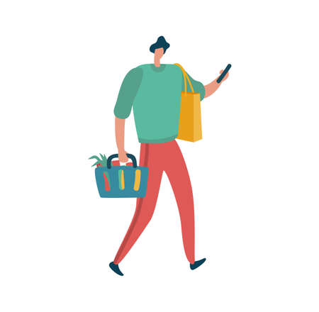 Man is shopping with holding bags, male shopper with basket. Modern character with package full of products and hold bag in hand in supermarket or mall, flat vector isolated cartoon illustration Illustration