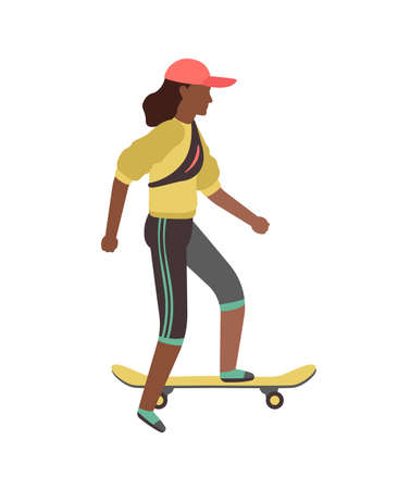 Man riding on skateboard. Simple young character skater guy skating on board. Outdoor activities in park, extreme sport, healthy leisure lifestyle. Flat vector cartoon isolated illustration Illustration