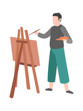 Man paints. Modern cartoon male character draws on easel, talent painter with artwork and paintbrush, creative profession and hobby vector flat cartoon isolated illustration