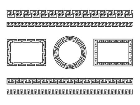 Greek frame borders. Ancient native roman or hellenic geometric decoration frame, mediterranean classic old patterns. Ornamental tattoo textures vector isolated set Illustration