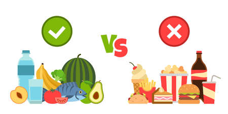 Diet choice. Choose foods beneficial to body, nutritional balanced meal vs fast food cholesterol, healthy and unhealthy lifestyle, fitness organic nutrition vector isolated concept