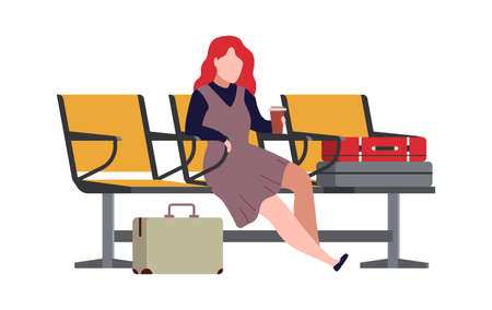 Woman in airport arrival waiting room or departure lounge. Modern female character sits on chair and waits plane with luggage, passenger with suitcases and bags, vector flat cartoon illustration