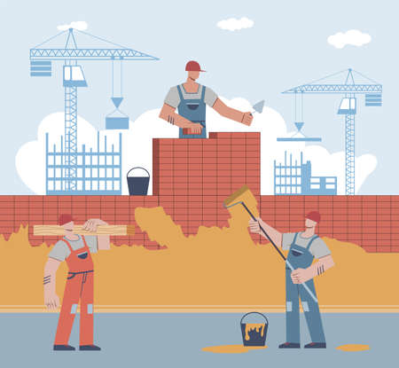 Builders are building house. Worker in uniform and helmet lays brick, man holds roller, male character carries beam on crane builds skyscraper background, home renovation flat vector cartoon concept Illustration