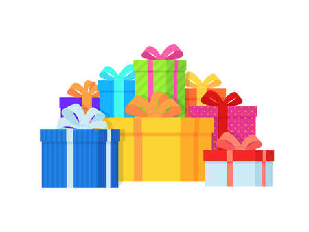 Gift box pile. Color gift boxes with bright ribbon and bow, lots of wrapped presents, christmas or birthday stylish wrap, holiday symbol flat vector isolated concept
