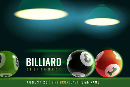 Billiards poster. Snooker tournament with 3d billiard balls and green table and lamp light. Professional pool, sports competition, announcement template for team championship vector flyer