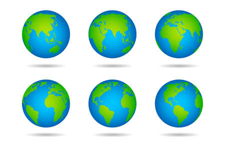 Earth globe. Sphere world map with continents on white background, globes from different angles, varios green continents and blue oceans, land and water vector illustration
