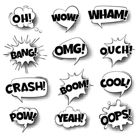 Pop art comic speech bubbles. Retro cartoon talking shapes, comic text in black and white colors, communication sound effect halftone dot background. Vector isolated illustration in vintage style Illustration