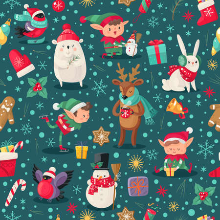 Christmas characters seamless pattern. Santa Claus helpers, deer and snowman, elf and arctic bear winter childish xmas holidays design for wallpaper, textile and wrapping paper, vector texture