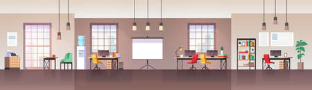 Office interior. Modern workplace with furniture chair, desk and computer, working environment empty workspace freelance coworking room, vector flat cartoon horizontal panorama background Illustration
