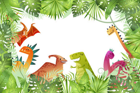 Jungle background. Funny dinosaurs on rainforest background, animal dragon and cute nature reptile in forest, childish bright empty frame or border template, vector cartoon isolated illustration