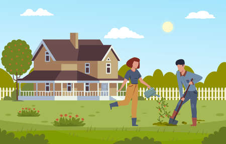 Home gardening. Man digging with shovel and girl watering plant, planting tree, working together in garden the yard, male and female couple farming modern flat vector cartoon illustration