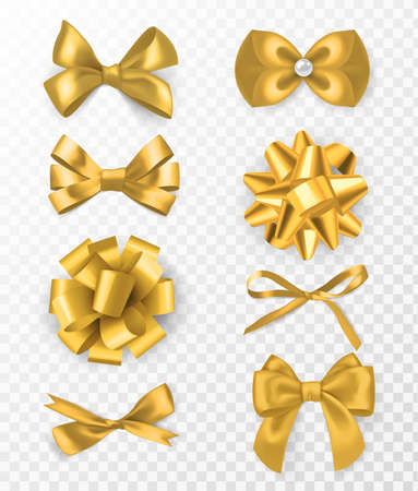 Gold decorative bows. 3d silk ribbon with decorative bow, golden holiday packaging element, card or page decor, elegant gift tape vector set on transparent background