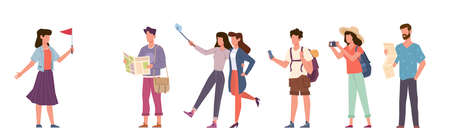 Tourists and tour guide. Travelling people group with camera, excursion with tour cicerone, seasonal vacation family and couples with smartphones and maps vector cartoon flat isolated concept
