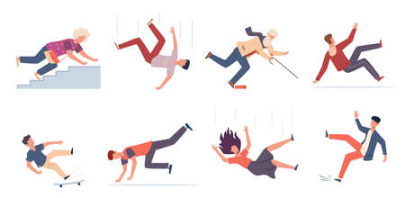 Falling down people. People of different ages stumblng and jumping down stairs, slipping wet floor, injured men, women, children vector flat cartoon isolated unbalanced characters Vecteurs