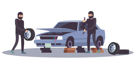 Robbery banditry looting. Thieves men take apart car, crime damage, destruction of another property, burglar remove wheels from vehicle, breaking into auto cartoon flat vector illustration Illustration