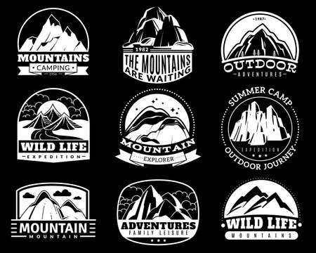 Mountain emblems. Mountaineering camp and adventure tourism, hiking expedition retro labels vintage vector  , badge or sticker monochrome isolated black and white silhouette collection