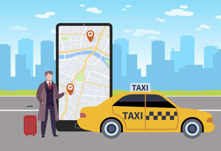 Online taxi. Man calls taxi through application in smartphone, map on phone screen and businessman with luggage next to yellow car in airport on city landscape flat vector cartoon concept