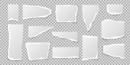 Torn paper pieces. Realistic page edges set, blank or empty white lacerated square notebook sheet in different shape and size, vector isolated illustration on transparent background Illustration
